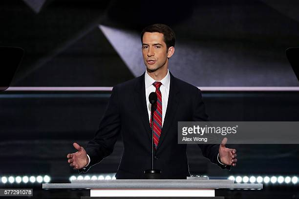 Sen Tom Cotton delivers a speech on the first day of the Republican National Convention on July 18 2016 at the Quicken Loans Arena in Cleveland Ohio...
