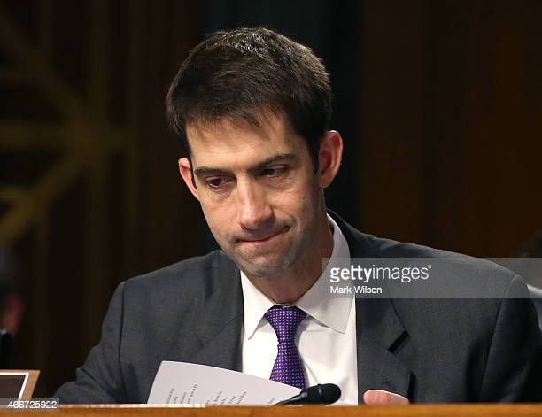 Sen Tom Cotton looks at his papers during a Senate Armed Services Committee hearing on Capitol Hill March 18 2015 in Washington DC The committee was...