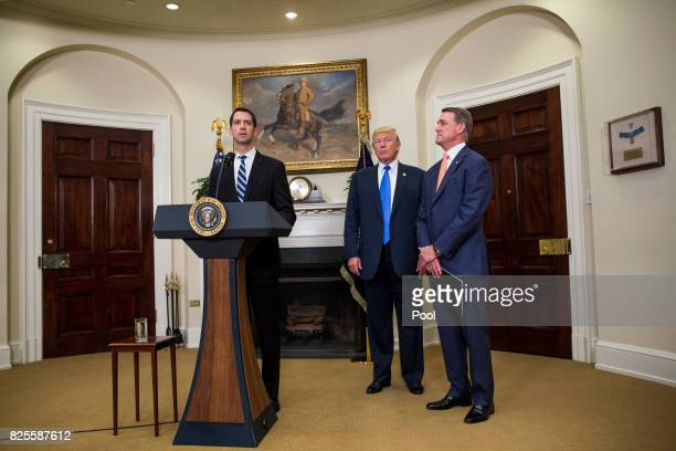 Sen Tom Cotton makes an announcement on the introduction of the Reforming American Immigration for a Strong Economy Act in the Roosevelt Room at the...