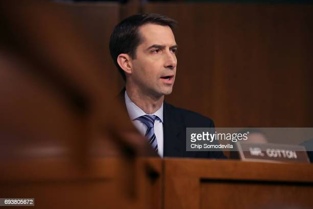 Sen Tom Cotton questions former FBI Director James Comey during a hearing of the Senate Intelligence Committee in the Hart Senate Office Building on...