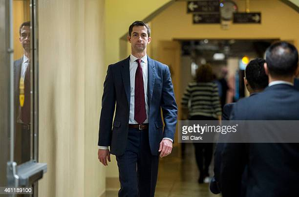 Sen Tom Cotton RArk heads to the Senate subway following a vote in the Capitol on Thursday Jan 8 2015