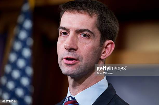 Sen Tom Cotton RArk speaks during a news conference in the Capitol's Senate studio on the possibility of arming the Ukrainians in their conflict with...