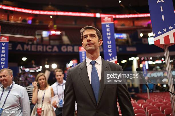 Sen Tom Cotton visits the Quicken Loans Arena ahead of the Republican National Convention on July 17 2016 in Cleveland Ohio The RNC is set for July...