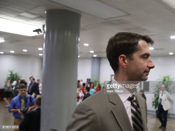 Sen Tom Cotton walks through the Senate subway inside the US Capitol on July 18 2017 in Washington DC Senate Majority Leader Mitch McConnell has lost...