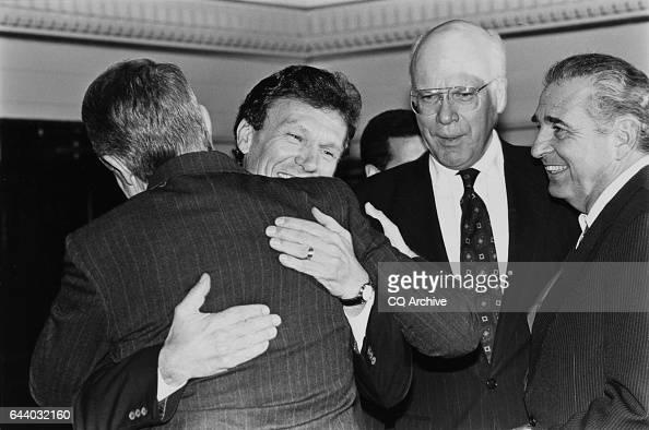 Sen Tom Daschle DSD Sen Harry Reid DNev before the Democratic 1992 Senate Election photo Sen Patrick Leahy DVt and Senatorelect Ben Nighthorse...