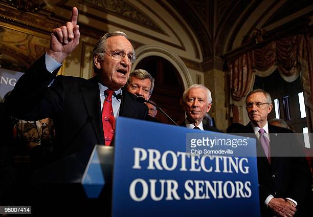 Sen Tom Harkin delivers remarks during a rally and news conference about the benefits to seniors in the new health care reform law with Sen Max...