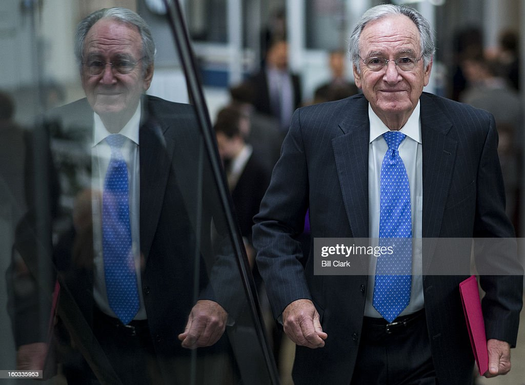 Sen. Tom Harkin, D-Iowa, arrives in the Capitol for the Senate policy lunches on Tuesday, Jan. 29, 2013.