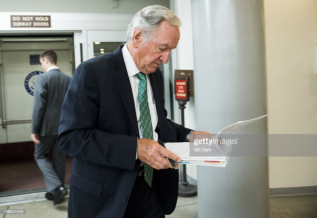 Sen. Tom Harkin, D-Iowa, arrives in the Capitol via the Senate subway on Tuesday, May 7, 2013.