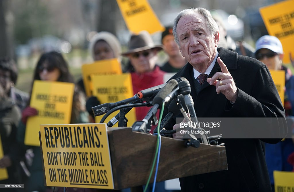Sen. Tom Harkin, D-Iowa, speaks at 'The Action' rally urging the Republicans in Congress 'not to drop the ball on the middle class, and give massive tax breaks to the richest Americans as the New Year and the impending $2,000 tax hike on middle-class families approaches.'