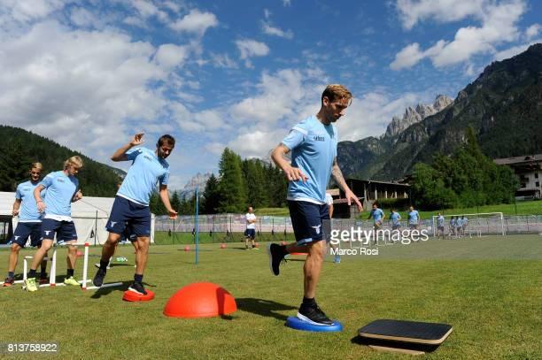 Senad Lulic and Luca Biglia of SS Lazio during the SS Lazio PreSeason Training Camp Day 4 on July 13 2017 in Pieve di Cadore Italy