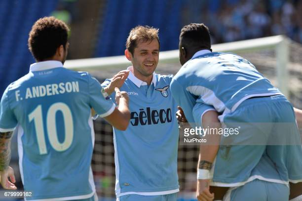 Senad Lulic celebrates after scoring a goal during the Italian Serie A football match between SS Lazio and US Sampdoria at the Olympic Stadium in...