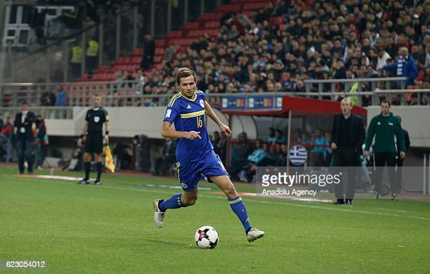 Senad Lulic of Bosnia and Herzegovina in action during the 2018 World Cup qualifying Group H football match between Greece and Bosnia and Herzegovina...