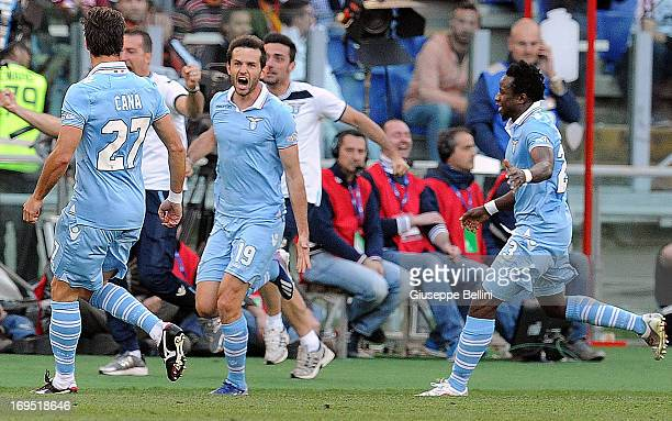 Senad Lulic of Lazio celebrates after scorig the opening goal during the TIM cup final match between AS Roma v SS Lazio at Stadio Olimpico on May 26...