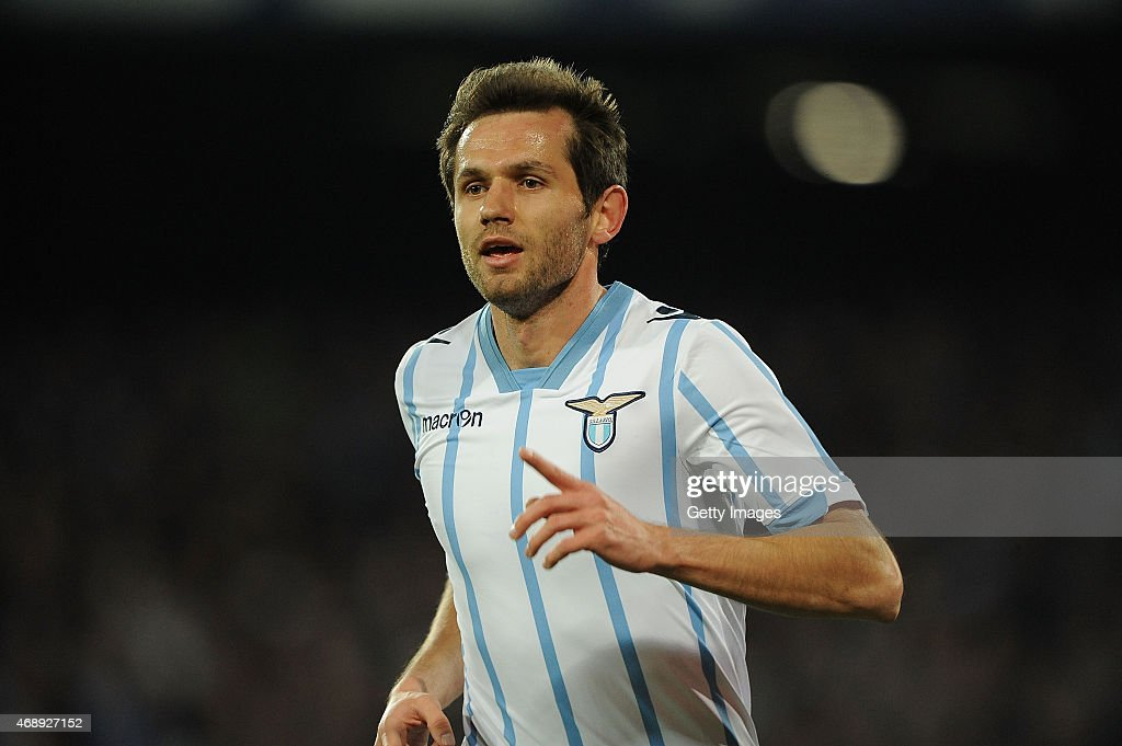 Senad Lulic of Lazio celebrates after scoring goal 1-0 during the Tim cup match between SSC Napoli and SS Lazio at the San Paolo Stadium on April 8, 2015 in Naples, Italy.