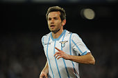 Senad Lulic of Lazio celebrates after scoring goal 10 during the Tim cup match between SSC Napoli and SS Lazio at the San Paolo Stadium on April 8...