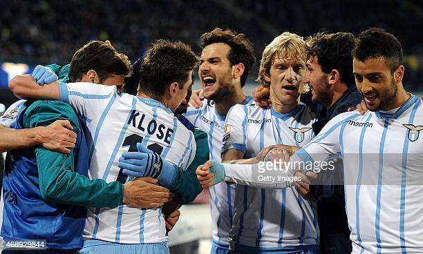 Senad Lulic of Lazio celebrates after scoring the first goal during the Tim cup match between SSC Napoli and SS Lazio at the San Paolo Stadium on...