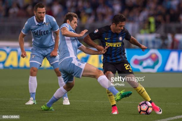 Senad Lulic of Lazio challenges Eder of Internazionale during the Serie A match between Lazio v Internazionale on May 21 2017 in Rome Italy