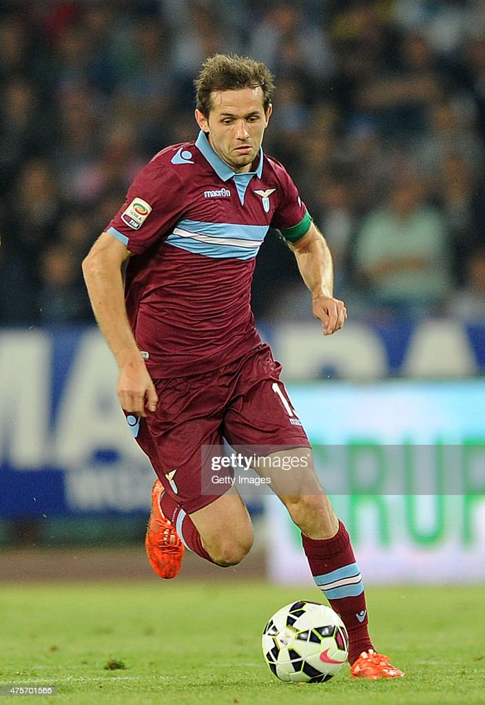 Senad Lulic of Lazio in action during the Serie A match between SSC Napoli and SS Lazio at Stadio San Paolo on May 31, 2015 in Naples, Italy.