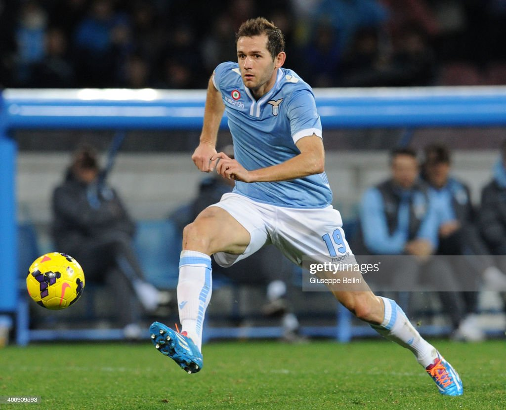 Senad Lulic of Lazio in action during the TIM Cup match between SSC Napoli and SS Lazio at Stadio San Paolo on January 29, 2014 in Naples, Italy.