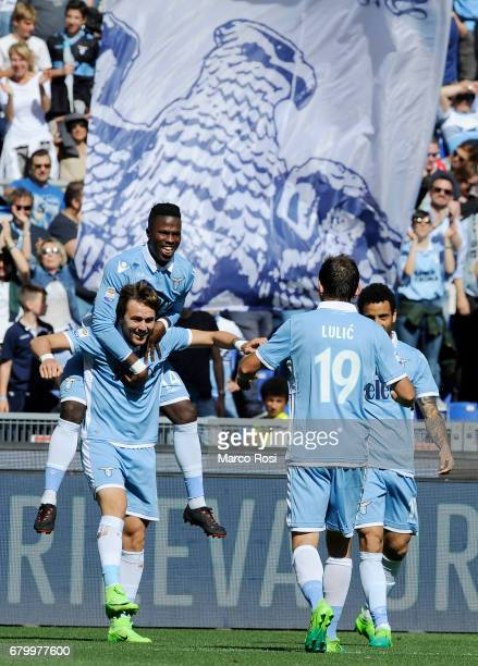Senad Lulic of SS Lazio celebrates a sixth goal during the Serie A match between SS Lazio and UC Sampdoria at Stadio Olimpico on May 7 2017 in Rome...