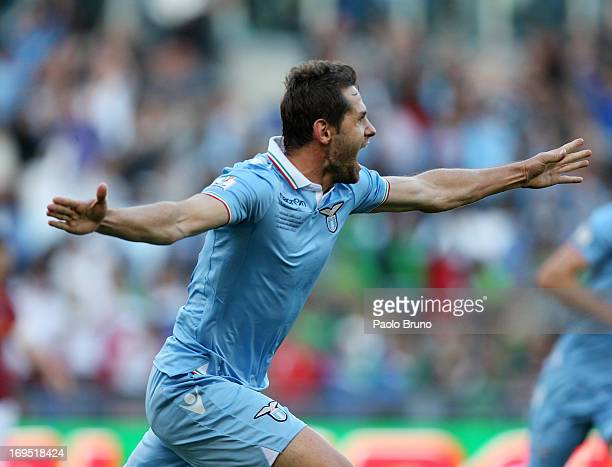 Senad Lulic of SS Lazio celebrates after scoring the opening goal during the TIM cup final match between AS Roma v SS Lazio at Stadio Olimpico on May...