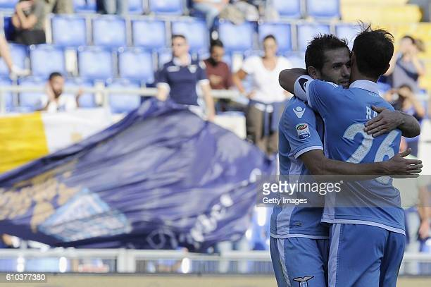 Senad Lulic of SS Lazio celebrates after scoring the team's scond goal during the Serie A match between SS Lazio and Empoli FC at Stadio Olimpico on...