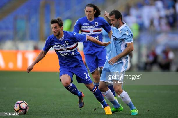 Senad Lulic of SS Lazio compete for the ball with Bartosz Bereszynski of UC Sampdoria during the Serie A match between SS Lazio and UC Sampdoria at...