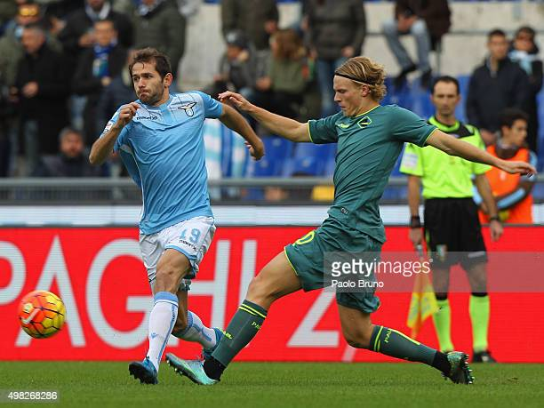 Senad Lulic of SS Lazio competes for the ball with Oscar Hiljemark of US Citta' di Palermo during the Serie A match between SS Lazio and US Citta di...
