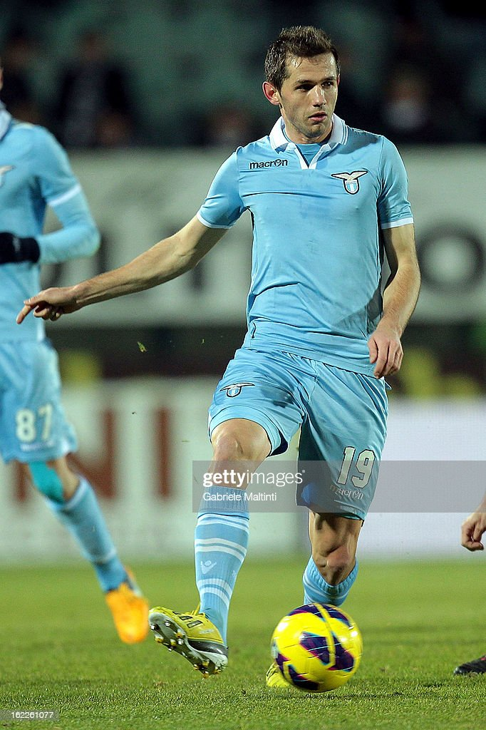 Senad Lulic of SS Lazio in action during the Serie A match between AC Siena and S.S. Lazio at Stadio Artemio Franchi on February 18, 2013 in Siena, Italy.
