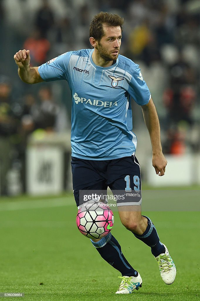 Senad Lulic of SS Lazio in action during the Serie A match between Juventus FC and SS Lazio at Juventus Arena on April 20, 2016 in Turin, Italy.