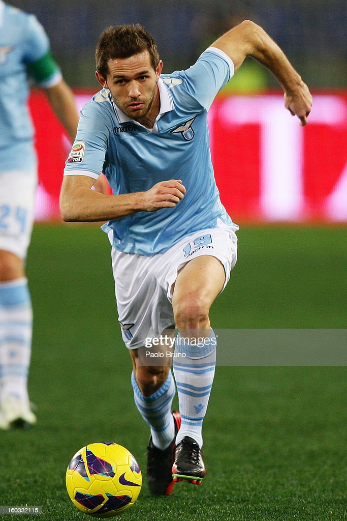 Senad Lulic of S.S. Lazio in action during the Serie A match between S.S. Lazio and AC Chievo Verona at Stadio Olimpico on January 26, 2013 in Rome, Italy.