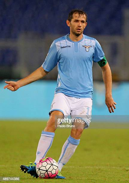 Senad Lulic of SS Lazio in action during the Serie A match between SS Lazio and Genoa CFC at Stadio Olimpico on September 23 2015 in Rome Italy