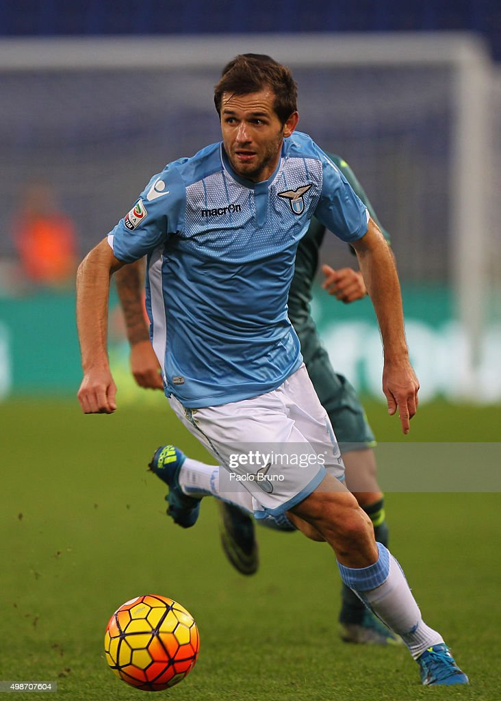 Senad Lulic of SS Lazio in action during the Serie A match between SS Lazio and US Citta di Palermo at Stadio Olimpico on November 22, 2015 in Rome, Italy.