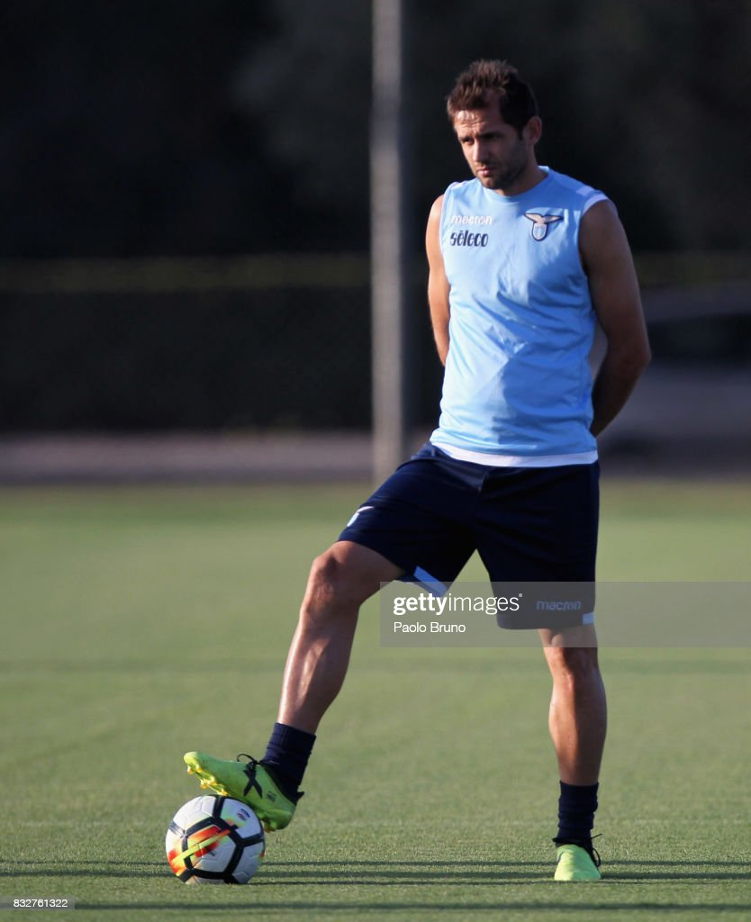Senad Lulic of SS Lazio in action during the SS Lazio training session on August 16, 2017 in Rome, Italy.