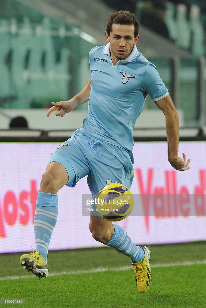 Senad Lulic of S.S. Lazio in action during the TIM cup match between Juventus FC and S.S. Lazio at Juventus Arena on January 22, 2013 in Turin, Italy.