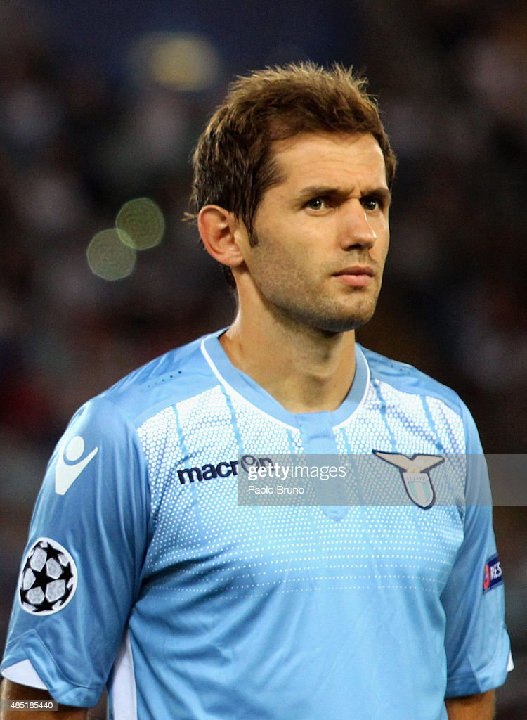 Senad Lulic of SS Lazio looks on during the UEFA Champions League qualifying round play off first leg match between SS Lazio and Bayer Leverkusen at Olimpico Stadium on August 18, 2015 in Rome, Italy.