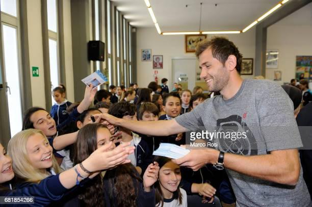 Senad Lulic of SS Lazio meets students at the San Giuseppe Caburlotto school on May 11 2017 in Rome Italy