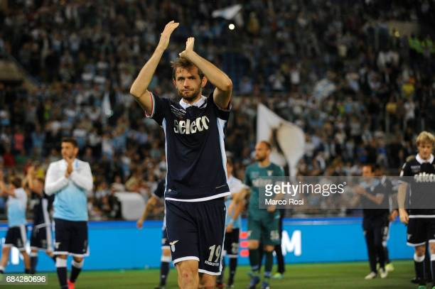 Senad Lulic of SS Lazio reacts at the end of the match after the TIM Cup Final match between SS Lazio and Juventus FC at Olimpico Stadium on May 17...