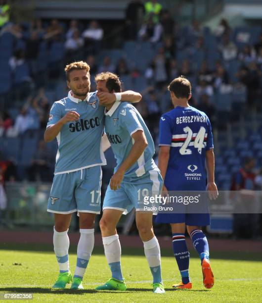 Senad Lulic with Ciro Immobile of SS Lazio celebrates after scoring the team's sixth goal during the Serie A match between SS Lazio and UC Sampdoria...