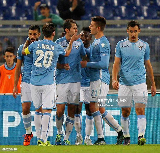 Senad Lulic with his teammates of SS Lazio celebrates after scoring the opening goal during the Serie A match between SsS Lazio and Torino FC at...