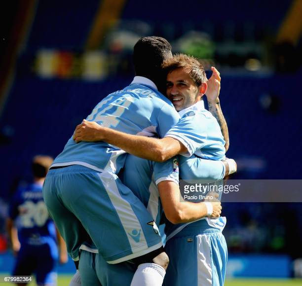 Senad Lulic with his teammates of SS Lazio celebrates after scoring the team's sixth goal during the Serie A match between SS Lazio and UC Sampdoria...