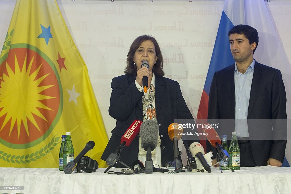 Senam Muhammed (L), who is introduced as 'Special Representative of the United States and European countries in the Syrian region', delivers a speech during the opening ceremony of an office claiming to represent the region under the control of the PYD, the Syrian arm of the PKK terrorist organization in the Russian capital of Moscow on February 10, 2016.