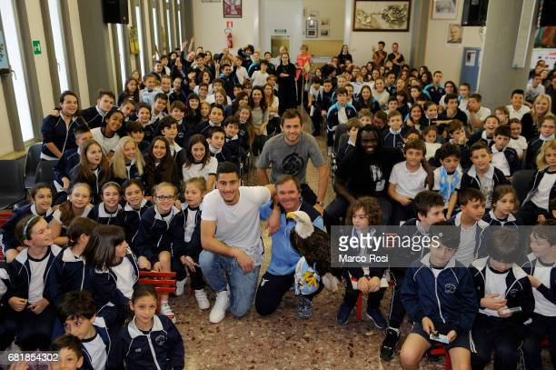 Senas Lulic Thomas Strakoscha and Jordan Lukaku of SS Lazio meets students at the San Giuseppe Caburlotto school on May 11 2017 in Rome Italy