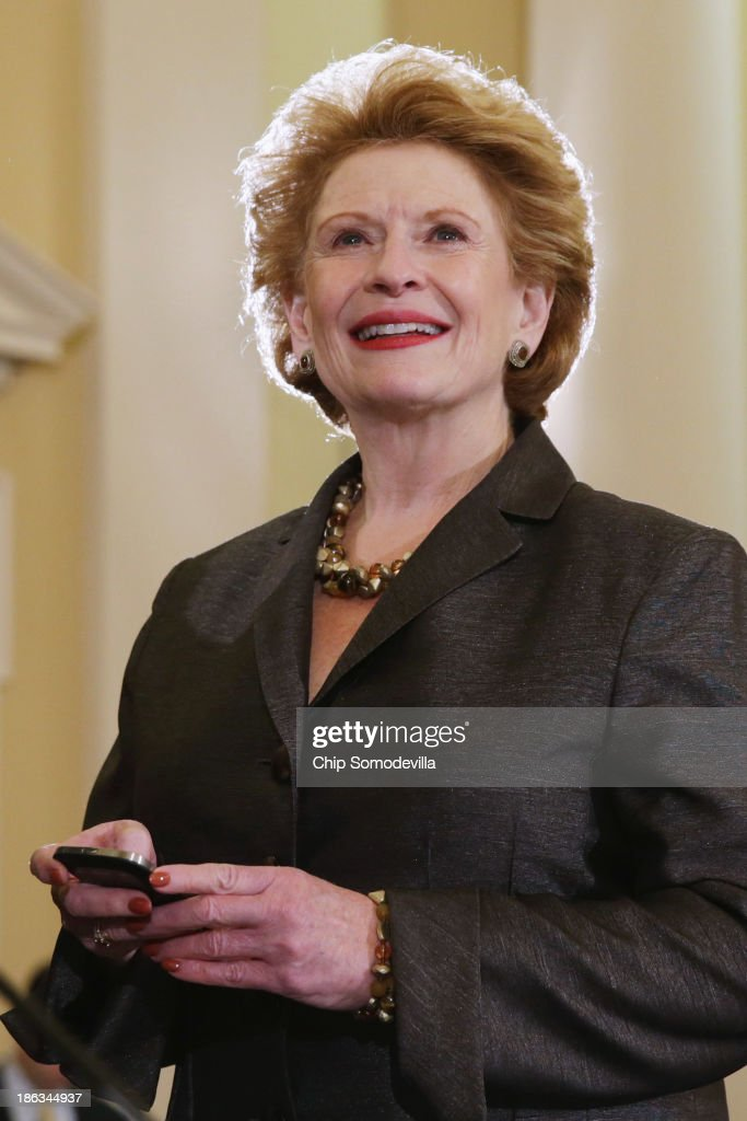 Senate Agriculture Nutrition and Forestry Committee Chairwoman Debbie Stabenow prepares for the start of a conference committee mark up hearing in...