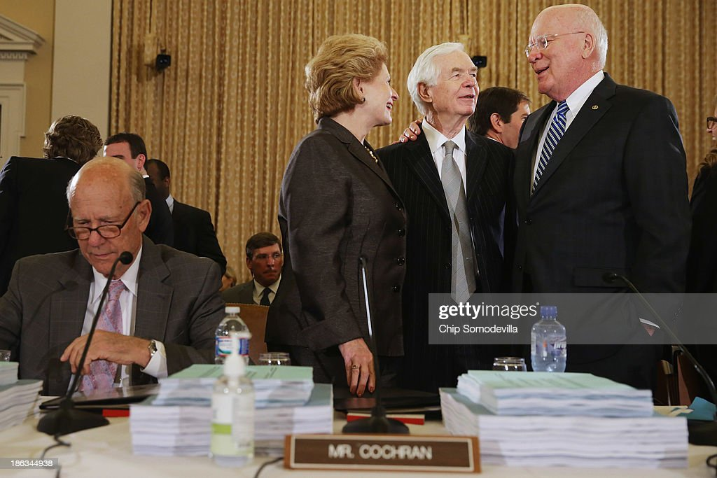 Senate Agriculture Nutrition and Forestry Committee Chairwoman Debbie Stabenow talks with committee raking member Sen Thad Cochran and Sen Patrick...