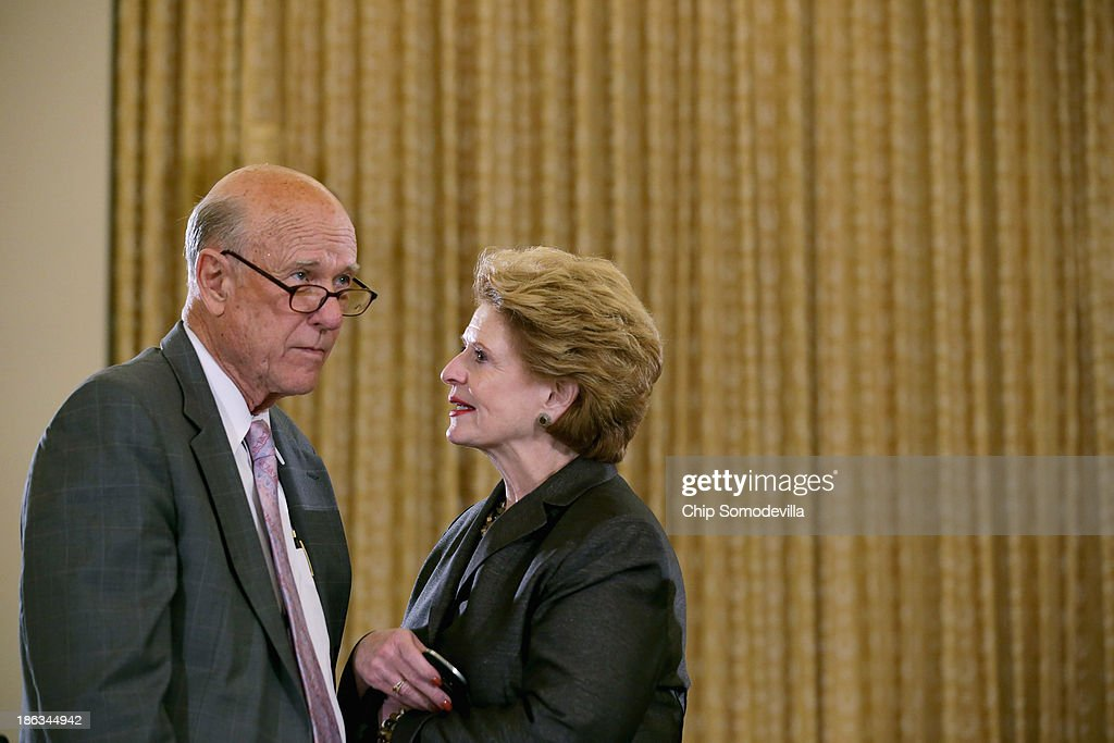 Senate Agriculture Nutrition and Forestry Committee Chairwoman Debbie Stabenow talks with committee member Sen Pat Roberts before the start of a...