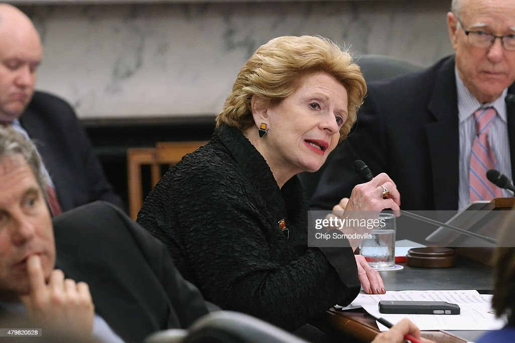 Senate Agriculture Nutrition and Forestry Committee ranking member Sen Debbie Stabenow delivers opening remarks during a hearing about the impact of...