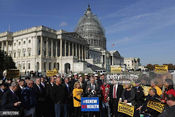 Senate and House Democrats hold a news conference with first responders from New York and members of the Iraq and Afghanistan Veterans of America to...