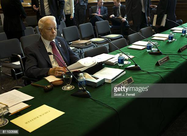Senate Appropriations Chairman Robert C Byrd DWVa looks over notes before the markup of the war supplemental bill