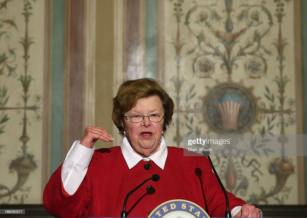 Senate Appropriations Chairwoman Barbara Mikulski (D-MD) speaks during a news conference on Capitol Hill May 22, 2013 in Washington DC. The news conference was held to provide an update on efforts to eliminate the Veterans Affairs Department claims backlog.